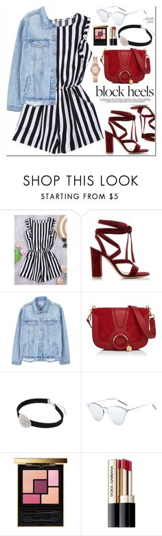 """""""Step Up: Block Heels"""" by oshint ❤ liked on Polyvore featuring Gianvito Rossi, MANGO, See by Chloé, Yves Saint Laurent, Dolce&Gabbana, Michael Kors, blockheels and zaful"""