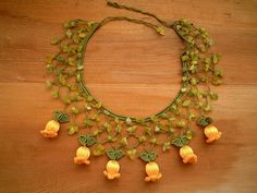crochet bib necklace yellow flower green by PashaBodrum on Etsy