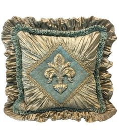 Taupe Silk and Blue Decorative Pillow Jeweled Fleur de Lis (20x20-not incl.ruffle)