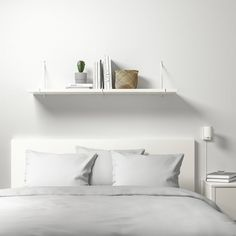 """BERGSHULT / PERSHULT Wall shelf, white, white, 47 1/4x11 3/4"""" - IKEA White Wall Shelves, Black Floating Shelves, Floating Shelves Bedroom, Black Shelves, Slanted Wall Bedroom, Shelf Over Bed, Above Bed, Retro Furniture, Ikea Furniture"""