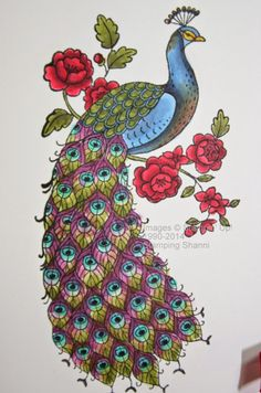 The Perfect Peacock in the new Annual Catalogue from Stampin' Up! Peacock Drawing, Peacock Painting, Peacock Art, Peacock Embroidery Designs, Perfect Peacock, Peacock Colors, Madhubani Painting, Hand Embroidery, Embroidery Stitches