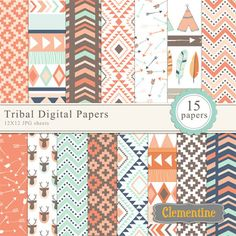Tribal digital papers in 12X12, royalty free and commercial use OK. Coordinates with my tribal clip art setThese sheets are created at 300 dpi for great printing quality! You will receive 15 JPG sheets.