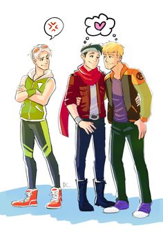 """thewickling: """" My commission from @dchanberry of Tommy, Billy, and Teddy as Marvel Avenger Academy characters. """""""