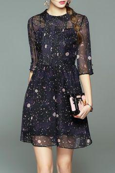 Sweetsmile Purplish Blue Collared Star Sheer Dress   Mini Dresses at DEZZAL