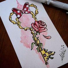 Bildergebnis für Tattoo-Disney-Schlüssel - Tattoo Trends and Lifestyle Cute Disney Drawings, Cute Drawings, Tattoo Drawings, Drawing Disney, Tattoo Ink, Disney Castle Drawing, Flower Drawings, Tattoo Blog, Cute Tattoos