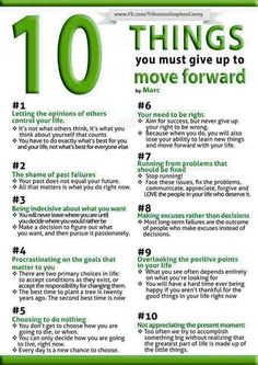 10 things you must give up in order to move forward