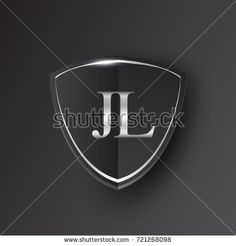 Initial logo letter JL with shield Icon silver color isolated on black background, logotype design for company identity.
