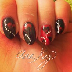 Valentine's Day heart nails freehand @asiakaybeauty @asianailsandhair
