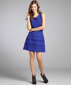 Wyatt blue jersey knit drop waist dress | BLUEFLY