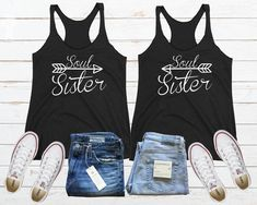 Soul Sister Tank, Personalized  Sister Shirt, Matching Best Friend Tank, Gift For Sister, Bff Tank Top, Best Friend Shirt, Twin Sister Shirt Friends Sweatshirt, Arrow Shirts, Best Friend Shirts, Sister Shirts, Best Friends, Love Your Sister, Soul Sisters, Black Tank Tops, Guys And Girls