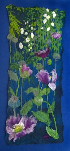Poppies 370 x 930 mm Wet Felting and Needle Felting techniques  Now mounted on white conservation board and box framed £940  Mounted Limited Edition 1/50 Giclee Prints  £87