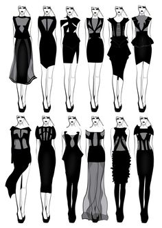 SHIT by Nazgrelle. Fashion Design Sketchbook, Fashion Design Drawings, Fashion Sketches, Moda Fashion, Fashion Art, Fashion Illustration Dresses, Fashion Illustrations, Fashion Dictionary, Fashion Vocabulary