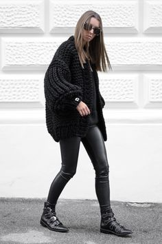 """The authentic knitted """"Loon Up"""" Cardigan. Update your autumn-winter wardrobe with this minimal design, based on simplicity and elega Leather Leggings, Minimal Design, Black Knit, Winter Wardrobe, Knit Cardigan, Perfect Fit, Personal Style, Balloons, Elegant"""