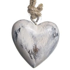 Wooden Heart Ornament - White | Woodland Christmas | Cracker Barrel Old Country Store - Cracker Barrel Old Country Store