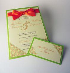 Orange & Green - Custom Wedding Invitations. $6.00, via Etsy.