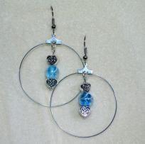 CELTIC HEART AND BLUE BEAD EARRINGS-HANDMADE-FREE SHIPPING