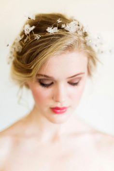Delicate Crystal Flower Bridal Headpiece | Rustic White Photography | http://heyweddinglady.com/colorful-modern-fairy-tale-bridal-shoot/