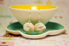 Pastel Pink Rose Earrings // Petite Porcelain by SweetMudClayWorks