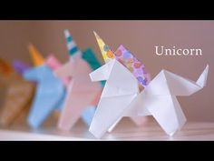 fácil ユニコーンの折り方★☆How to make an origami Unicorn 【Origami Tutor. How to make an origami Unicorn 【Origami Tutorial】 Origami 3d, Origami Design, Origami Boot, Origami Star Box, Origami Wedding, Origami Dragon, Origami Butterfly, Useful Origami, Paper Crafts Origami