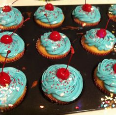 4th of July Cotton Candy Vodka Alcohol Cupcakes with Bourbon Soaked Cherries