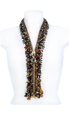 Zipper with SWAROVSKI ELEMENTS - Fire Mountain Gems and Beads. I have done a similar necklace with less impressive beads, it's a fun idea! Jewelry Crafts, Jewelry Art, Beaded Jewelry, Handmade Jewelry, Jewelry Design, Diy Zipper Jewelry, Jewelry Accessories, Jewelry Stand, Handmade Beads