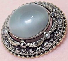 LARGE  VICTORIAN MOONSTONE JEWEL BUTTON SILVER -  GAY 90'S.