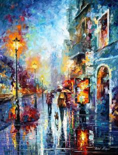 Melody Of Passion  PALETTE KNIFE Landscape por AfremovArtStudio