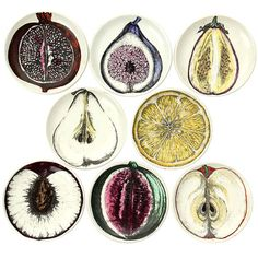Coaster Sized Plates of Fruit by Fornasetti