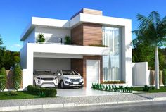 This two-storey house plan has a clean facade that mixes with the wood, glass, and white paint. The landscaping and the lighting is made simple Modern House Facades, Modern Architecture House, Modern House Plans, Duplex House Plans, Minimalist Architecture, Chinese Architecture, Futuristic Architecture, Architecture Design, House Front Design