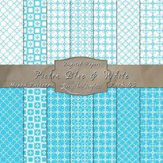 Cute Geometric Inspired Designs in Picton Blue & White – Digital Paper Pack 43
