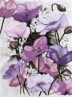 Mixed Poppies Purple Painting
