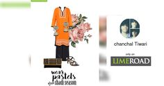 'Wear Pastels this Shaadi Season' by me on Limeroad featuring Orange Kurtas, None Other Earrings with Black Clutches