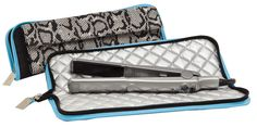 Flat Iron or Curling Iron Travel Case. Heat resistant liner allows you to place hot iron in bag, zip & go! Outside pocket for extra storage and separate pouch keeps cord away from hot iron.  $26.00