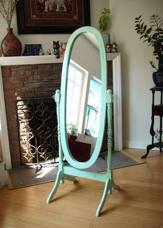 Hand Painted Mint Green Cheval Oval Mirror Full by NJsDreamBoxes My New Room, My Room, Bedroom Green, Bedroom Decor, Furniture Makeover, Diy Furniture, Funky Mirrors, Floor Standing Mirror, Oval Mirror