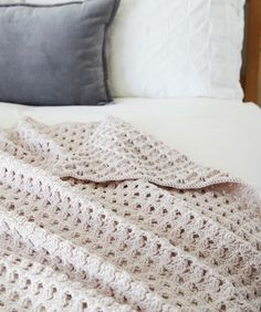 Free Crochet Pattern for a Hygge Chic Throw. Skill Level: Intermediate This modern throw is crocheted with a wonderful, interesting stitch pattern. Free Pattern More Patterns Like This! Modern Crochet Blanket, Crochet Throw Pattern, Modern Crochet Patterns, Crochet Fabric, Afghan Crochet Patterns, Crochet Afghans, Crochet Blankets, Crochet Bedspread, Baby Blankets