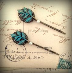 Leaf Hair Pins Vintage Style Wedding Woodland Patina Turquoise White Pearl Bobby Pin Bridal Hair Pins Set Bridesmaid Gift Rustic Elegant WR