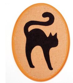 Felt Cat on Burlap Covered Wood Plaque