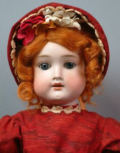 """LADY IN RED 21"""" Antique GERMAN Doll """"SPECIAL"""" in Great Condition-Holiday Honey!"""