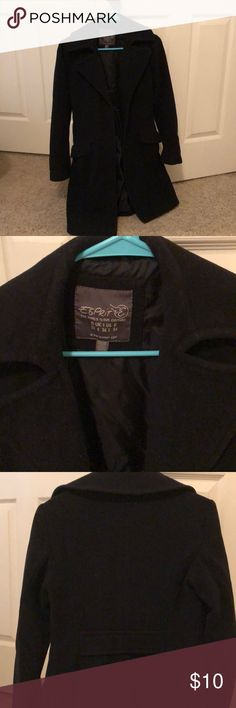 Esprit black coat Esprit black coat. Used but still has life. Priced to sell. Size 32 or xs. Lint prone so will need to use lint roller. Seems to be no visible pillage. However, I make no guarantee that there are none. Esprit Jackets & Coats Pea Coats