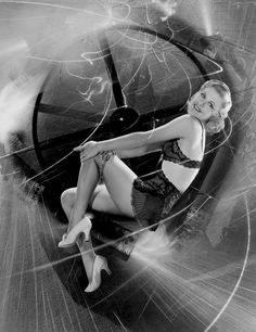 Ginger Rogers in skimpy lingerie and stockings