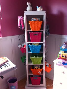 """I used a second hand bookshelf and cut it down to the size I wanted. I then used pegboard on 2 sides for hair, nail polish , jewlery, scarves and anything else my tween daughter needs to keep organized. On the back of the """"bookshelf"""" is a full length mirror and the front has shelves still. I used fun decorative baskets for the shelves and currently they are used for books. I had all trim on hand and purchased lazy Susan bearings. The stand turns and is extremely handy..out of pocket cost $56"""