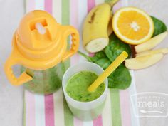 Green Supreme Smoothie ... this recipe was devised for a picky toddler, but would be GREAT healthy shake for an adult trying to get to work on time! found on site: http://onceamonthmeals.com/green-supreme-smoothie/