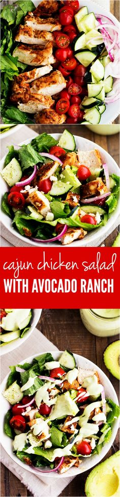 Delicious summer veggies come together in this mouthwatering salad. Topped with cajun chicken that adds a little bit of heat and creamy avocado ranch helps to cool it down. This is one incredible salad!