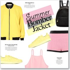 Summer Bomber Jacket by kellylynne68 on Polyvore featuring Linne, River Island, Moschino, adidas and STELLA McCARTNEY