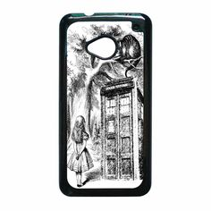 Alice In Wonderland and Cat on doctor who box HTC One M7 Case