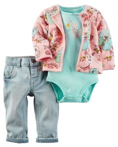 Featuring a quilted cardigan, this 3-piece set is complete with stretchy jeggings and a soft cotton bodysuit.