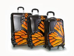 Fun and fashionable, the beautiful Monarch Print Spinner Upright Luggage Collection by Heys offers you wings to fly. Incredibly lightweight and durable, with advanced 360 degree spinner wheels to provide easy maneuverability. 3 Piece Luggage Set, Luggage Sets, Monarch Butterfly, Butterfly Shoes, Travel Style, Travel Bags, Modern, Collection, Butterflies