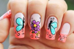 Blue is an elegant and always fashionable color: manicure enthusiasts cannot leave it aside for the next season! What are the most beautiful blue nail art? Butterfly Nail Art, Flower Nail Art, French Nails, Nail Designs Spring, Nail Art Designs, Bridal Nail Art, Fingernail Designs, Nails For Kids, Pedicure Nail Art