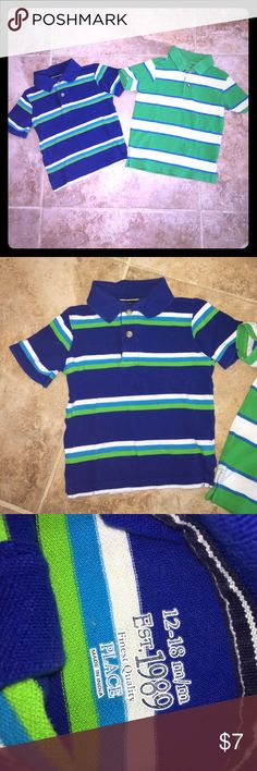 Children's Place polos 12-18m In great condition. Green and white one does have a couple small stains. See pictures. Smoke free home. Children's Place Shirts & Tops Polos