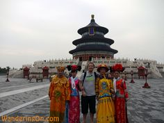 Brian with some colourfully dressed locals at the Temple Of Heaven, Beijing